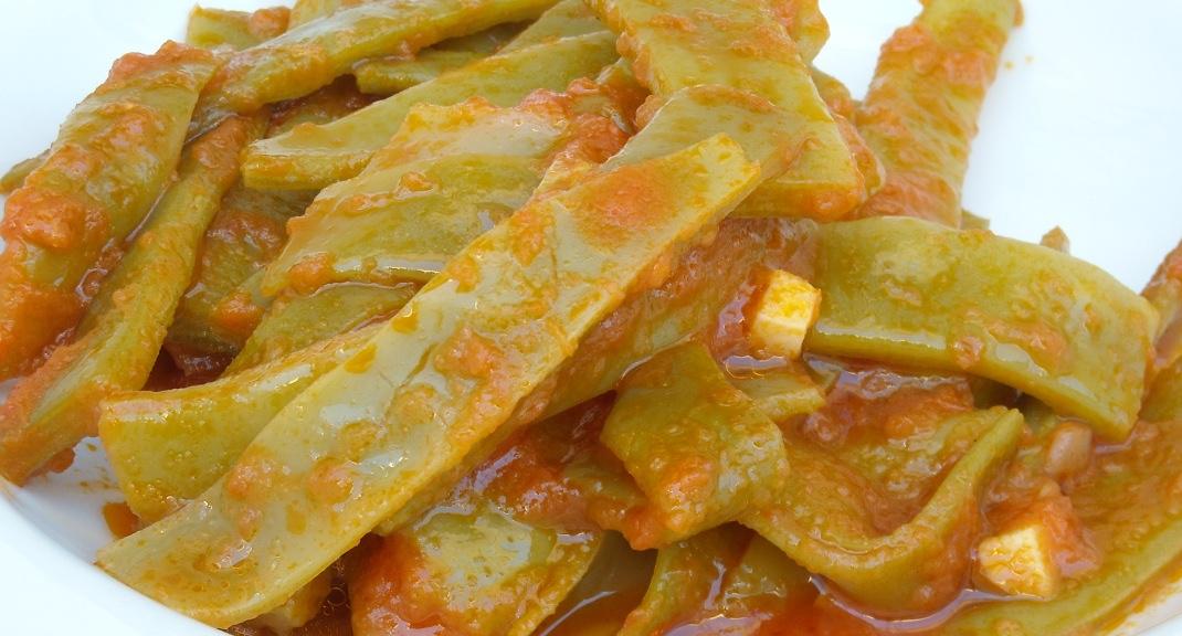 Receta de jud as verdes con tomate recetolandia - Judias con chorizo y patatas ...