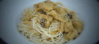 Spaghetti con pollo al curry