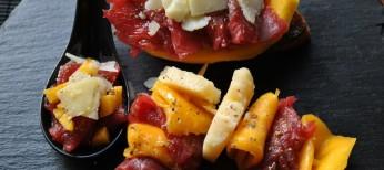Carpaccio con Parmigiano Reggiano y mango
