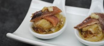 Pincho de berenjenas asadas con anchoa